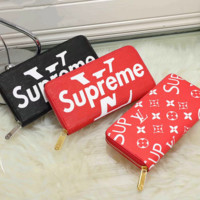 LV x Supreme Women Fashion Leather Print Purse Wallet