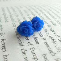 Pretty Rose Post Earrings in Electric Blue // Bright Hues Fashion Accessory