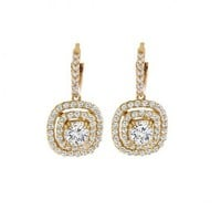 1 1/2ct tw Diamond Halo Earrings in 14K Yellow Gold - Diamond Earrings - Jewelry & Gifts