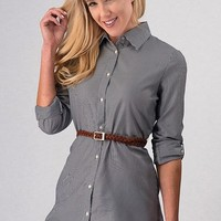 Button Up Belted Tunic - Navy