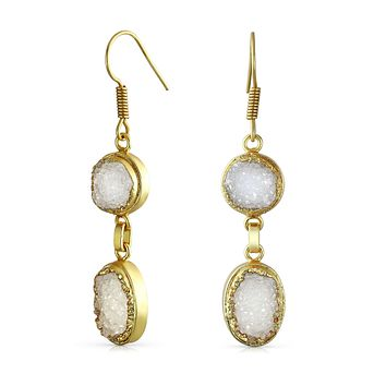 Boho Round Oval Druzy Agate Gemstone Drop Earrings 14K Gold Plated