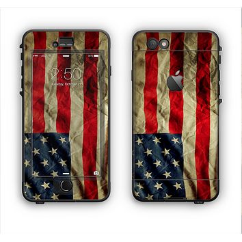 The Dark Wrinkled American Flag Apple iPhone 6 Plus LifeProof Nuud Case Skin Set