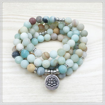 Amazonite Mala Beads Bracelet/Necklace With Charm