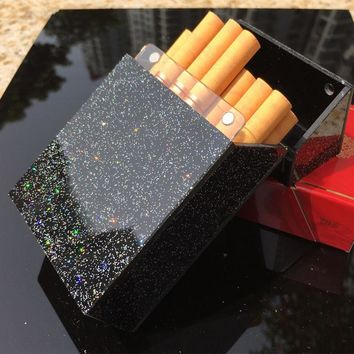 Flashing Cigarette Box hit the bar cool black cigarette organizer for Smoking Plastic Box Portable Nightclub cigarette case