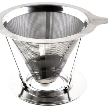 Pour Over Coffee Maker, Dripper Made of Stainless Steel, Single Cup Brewer