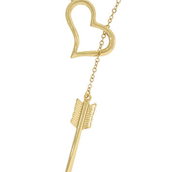 Ladies Large 'Shot with Love' Pendant with an 18 Inch Link Chain Necklace (Goldtone)