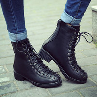 Designer Thick Heel Round Toe Lace Up Motorcycle Martin Boots - NewChic Mobile.