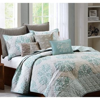 Mirna Turquoise Grey Coverlet Set