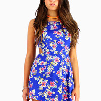 Blue Floral Print Cut Out Mini Dress by Batoko | BATOKO