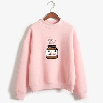 New Women Harajuku Hoodies Korean Fashion BTS You Are My Nutella Printed Kawaii Sweatshirt Kpop Befree moletom feminino ropa