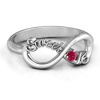 Sweet 16 with Birthstone Infinity Ring