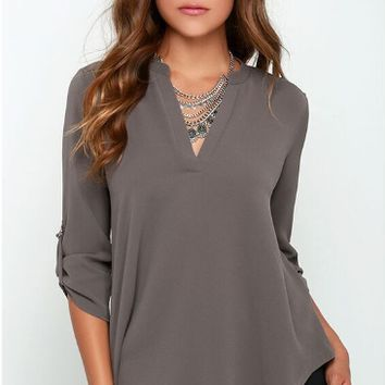 Roll-Up Sleeve V-Neck Shirt