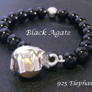 Harmony Ball Bracelet with Elephant Harmony Ball and Agate Beads | Agate Beaded 925 Sterling Silver Elephant Harmony Ball Bracelet 023