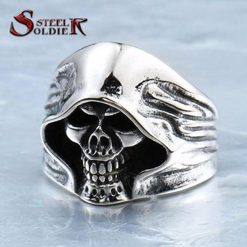 DCCKU62 steel soldier  good detail the death skull vintage ring for man stainless steel movie style hot sale skull jewelry