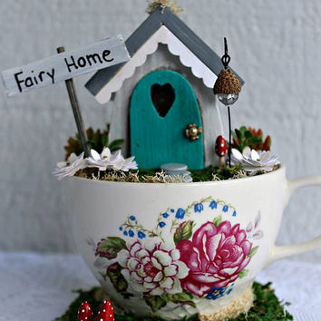 Tea Cup Fairy Garden House Custom Made/fairy garden teacup/desktop or office garden/mother daughter sister gift/Miniature Fairy Garden House