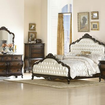 5 pc Bayard Park collection dark brown cherry finish wood with pearl faux alligator tufted headboard bedroom set