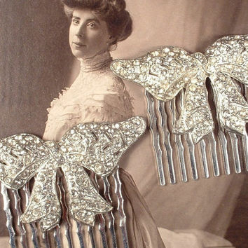 PAIR 1920s Art Deco Hair Combs, Flapper Rhinestone Bow Bridal Hair Combs, TRUE Vintage Silver Pave Designer Original Fur Clips to OOAK Combs