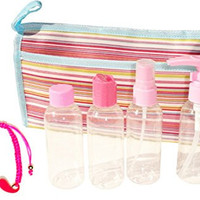 Small 6 Piece Pink Clear Cosmetic Makeup Travel Case Set Kit Container Unique Home School Birthday Present Idea Best College Supplies Stocking Stuffer Her Mom Daughter Girlfriend Wife Teen Girl Aunt