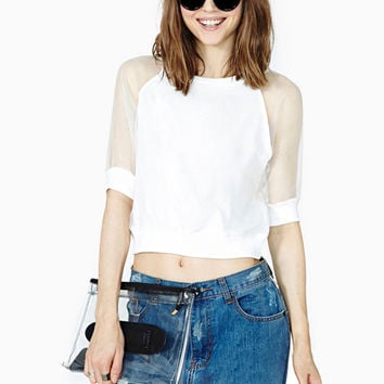 White Short Sleeve Mesh Accent Cropped Top