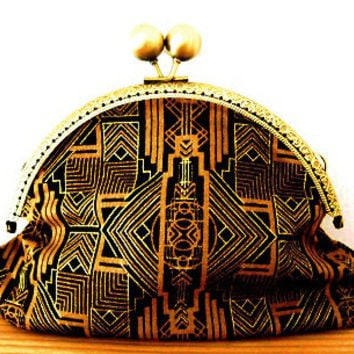 1920s/art deco/metalic/gold/black/geometric print/lined/small clasp/clutch bag