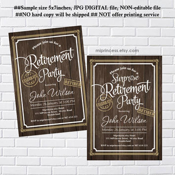 Retirement Invitations, Retirement party Invitation, Retirement Celebration retro vintage Invite, Rustic wood- card 1204