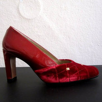 NINA RICCI vintage SHOES Pumps red patent leather size 37