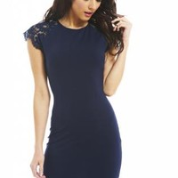 Navy Lace Shoulder Bodycon Dress