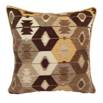 "Upholstery/Faux Suede Ikat 18""x18"" Brown/Gray/Cream/Yellow Pillow Case/Cushion Cover"