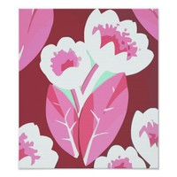 Pink Tulip Flowers Abstract Digital Art Poster