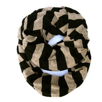 Black and Mocha Striped Eternity Infinity Tube Scarf Fun Casual or Dressy Scarf Women Teen Cute Trendy Striped Circle Scarf