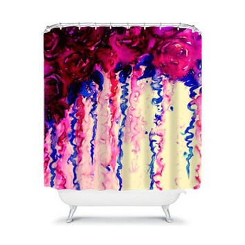 PETALS ON PARADE Oxblood Indigo Blue Floral Fine Art Shower Curtain Washable Home Decor Colorful Watercolor Painting Modern Girly Bathroom