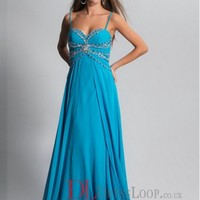 2014 New Styles A-Line Spaghetti Straps Chiffon Blue Plus Size Prom Dress/Evening Gowns With Beading VTC498