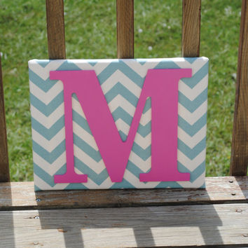 "Personalized Blue Chevron with Hot Pink Initial Canvas Wall Art 11""x14"" Customized Boys And Girls Room Decor, Photo Prop"