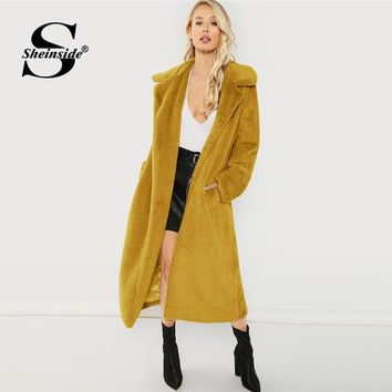 Sheinside Ginger Winter Jacket Women Open Front Faux Fur Teddy Coat With Lining Elegant Outerwear Womens Long Coats And Jackets