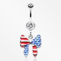 American Patriot Bow-Tie Flag Belly Button Ring