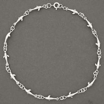 Sterling Silver  Swimming Dolphin Bracelet