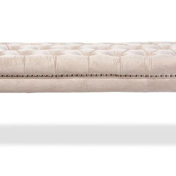 Baxton Studio Edna Modern and Contemporary Rectangular Beige Microsuede Fabric Upholstered Lux Tufted Ottoman Bench with Acrylic Legs   Set of 1