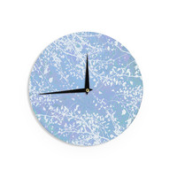 "Iris Lehnhardt ""Twigs Silhouette Pastel Blue"" Cold Wall Clock"