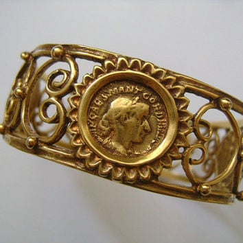 Rare © 1993 MMA KHM Metropolitan Museum of Art Gold Plated Gilded Openwork Filigree Napoleon Roman Coin Coins Bangle Bracelet Classic Piece!