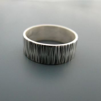 Grass  textured sterling silver ring by junedesigns on Etsy