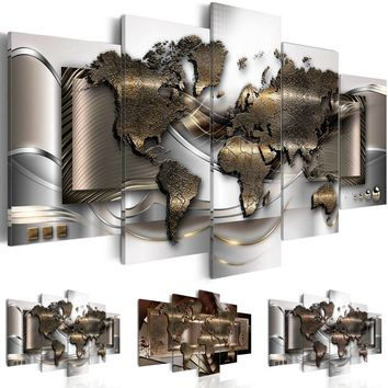 ( No Frame ) Canvas Print Modern Fashion Wall Art the World Map for Home Decoration Choose Color & Size