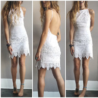 A Crochet Halter Party Dress