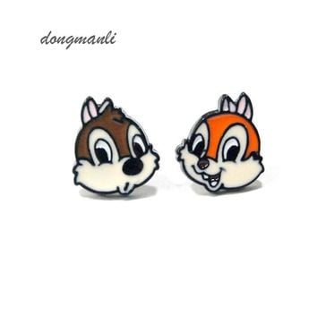 Dongmanli Cute Squirrel Alvin And The Chipmunks Enamel Stud Earring cartoon cute kids earrings Jewelry M1148