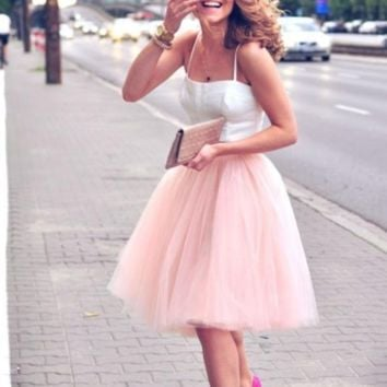 Pink Two Pieces Tulle Short Homecoming Dress