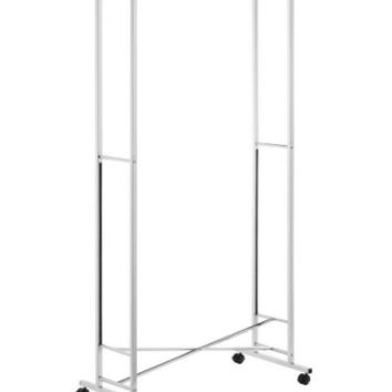 Space-Saving Folding Garment Rack in Chrome Portable Swivel Casters Closet