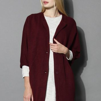 Brilliant Cocoon Coat in Wine