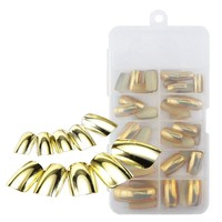 70Pcs 10 sizes Acrylic UV Gel False French Nail Fake Nail Art Design Wrap Tips Metallic Shiny Gold Packed Box Diy