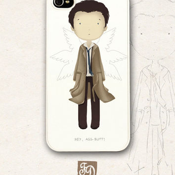 Iphone 4 / 4s hard or rubber case cute CASTIEL , Supernatural, Cas