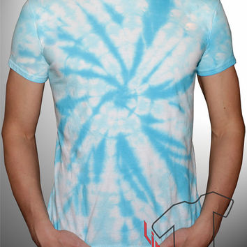 Pastel Blue Psychedelic Tie Dye Shirt Trippy Summer Festival Clothing