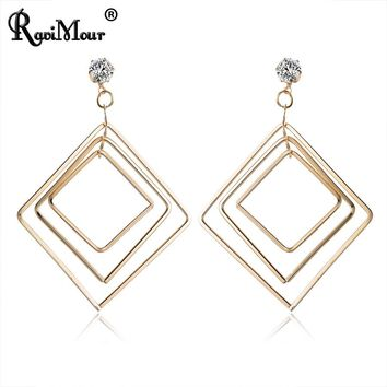RAVIMOUR Punk Metal Geometric Oversize Long Earings for Women Jewelry Statement Square Drop Earring Hanging Ear Accessories 2018